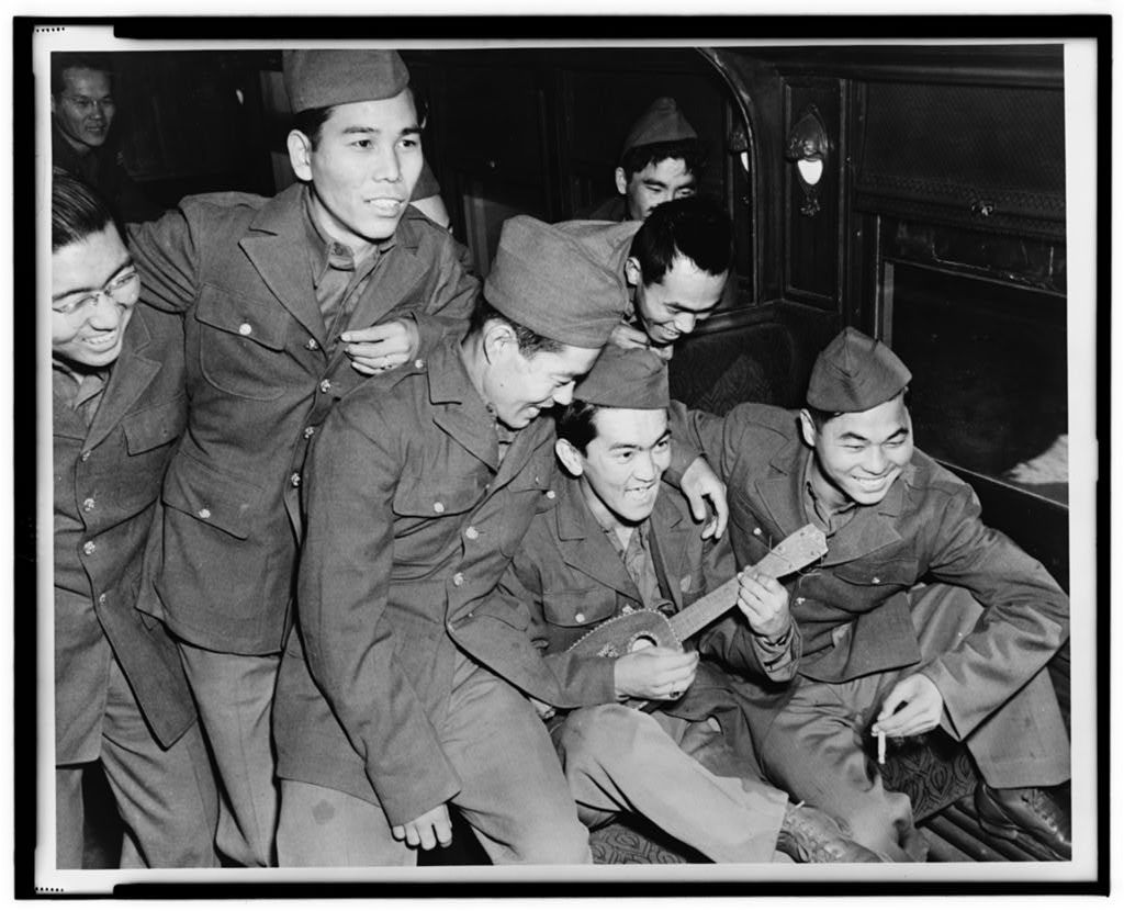 Japanese American soldiers enjoying the ukulele