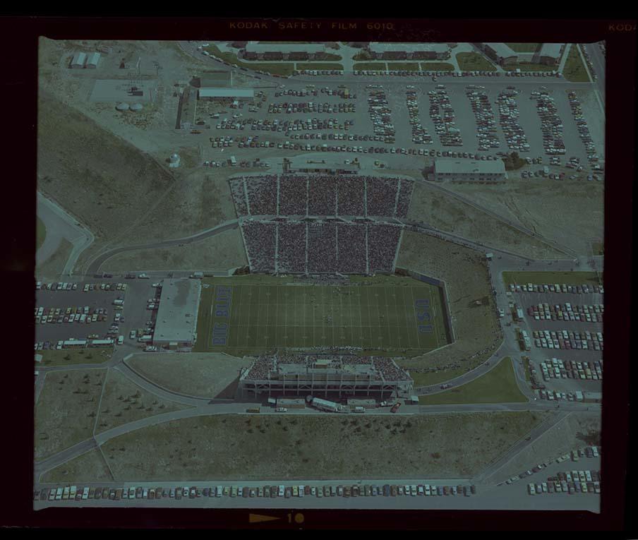 Aerial of Romney Stadium, 1977