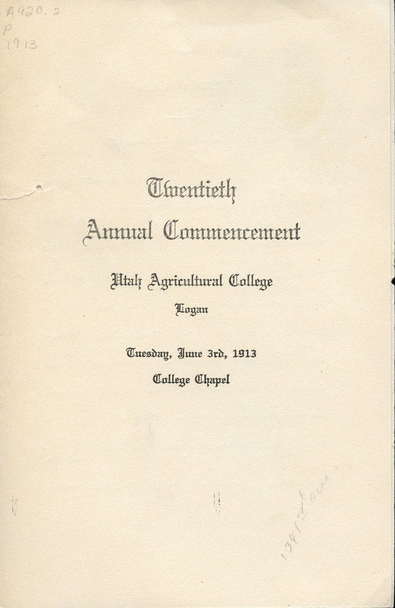 1913 UAC Commencement Program Cover
