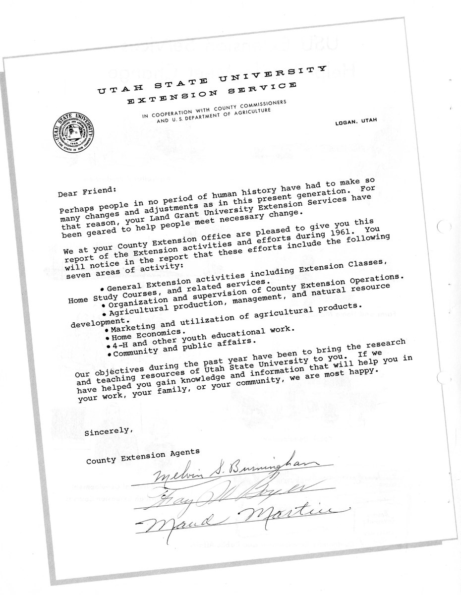 Letter from Extension Work Agents Weber County 1961