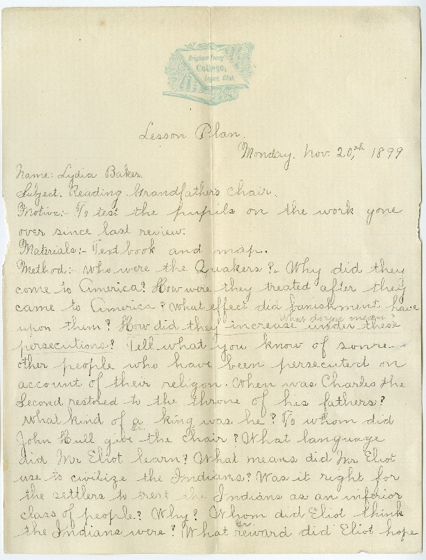 Lydia Baker Hogenson's assignment to create a lesson plan on Grandfather's Chair by Nathaniel Hawthorne, Brigham Young College (1899 January)