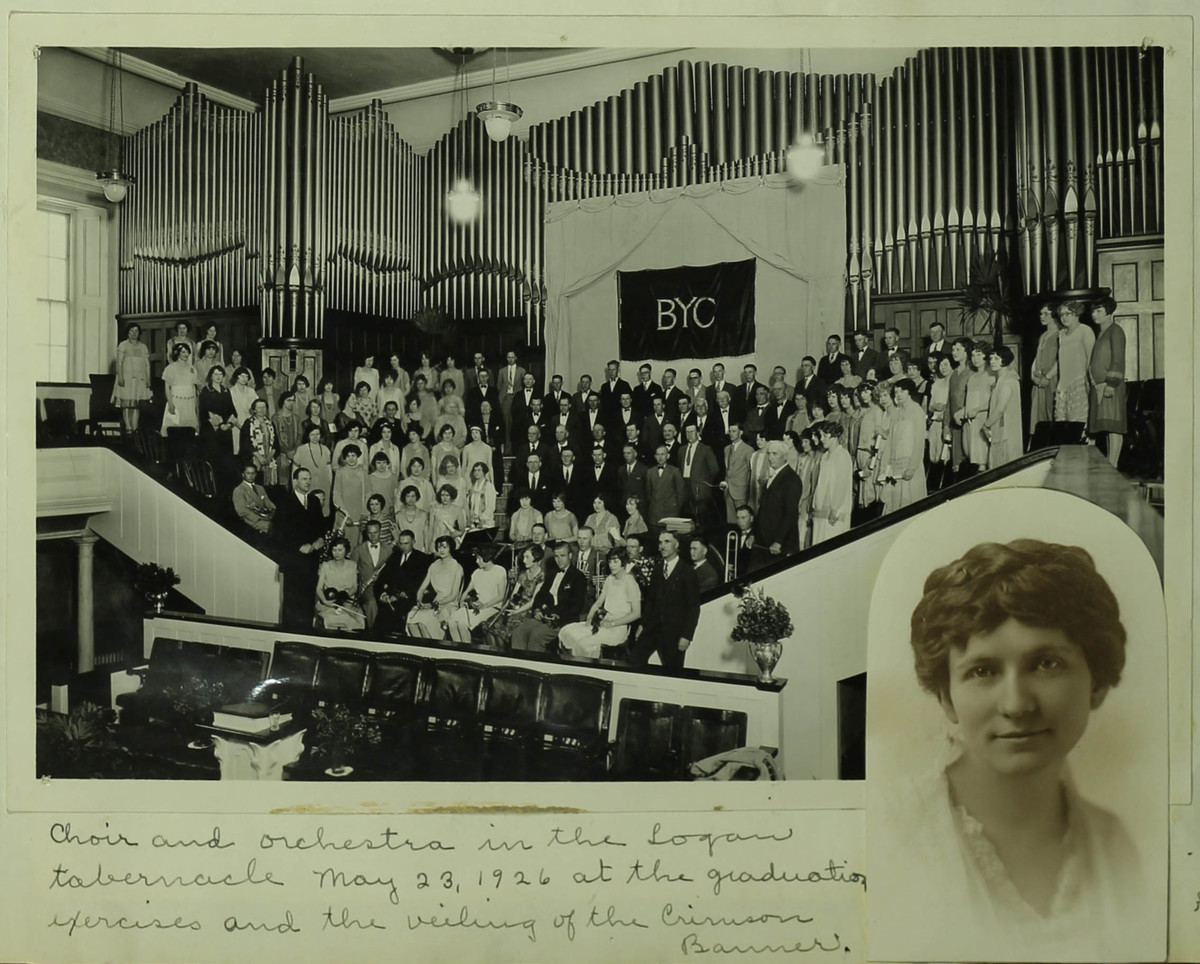 Closing exercises for Brigham Young College, May 23, 1926, Logan Tabernacle. Inset shows Margaret Anderson, who furled the Crimson Banner