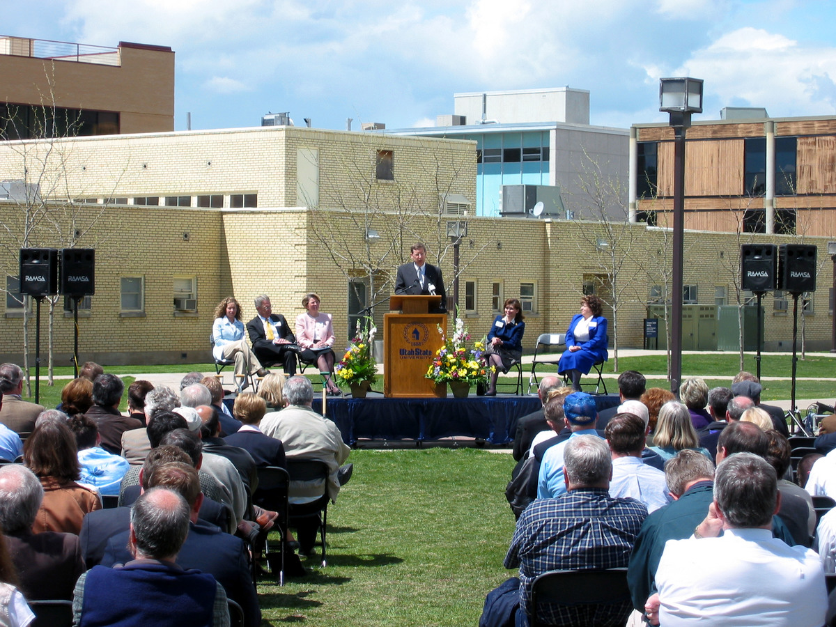 Kermit Hall speaking at the Merrill-Cazier Library groundbreaking ceremony