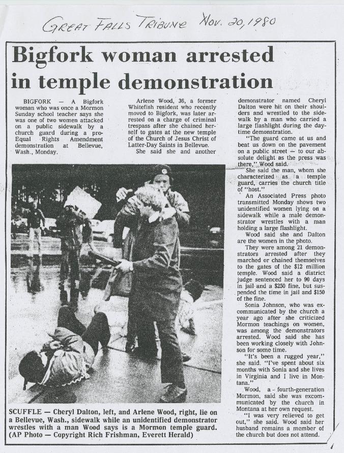 Bigfork Woman Arrested in Temple Demonstration