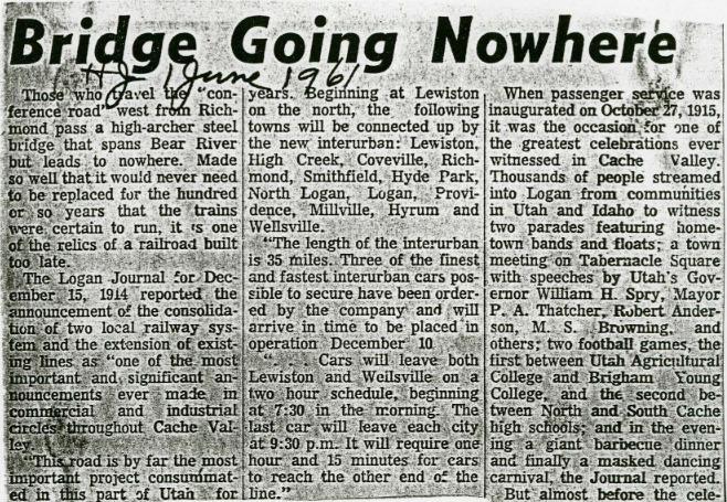 """Bridge Going Nowhere,"" Herald Journal, June 1961<br />"