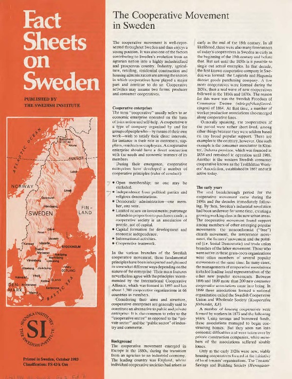 The Cooperative Movement in Sweden