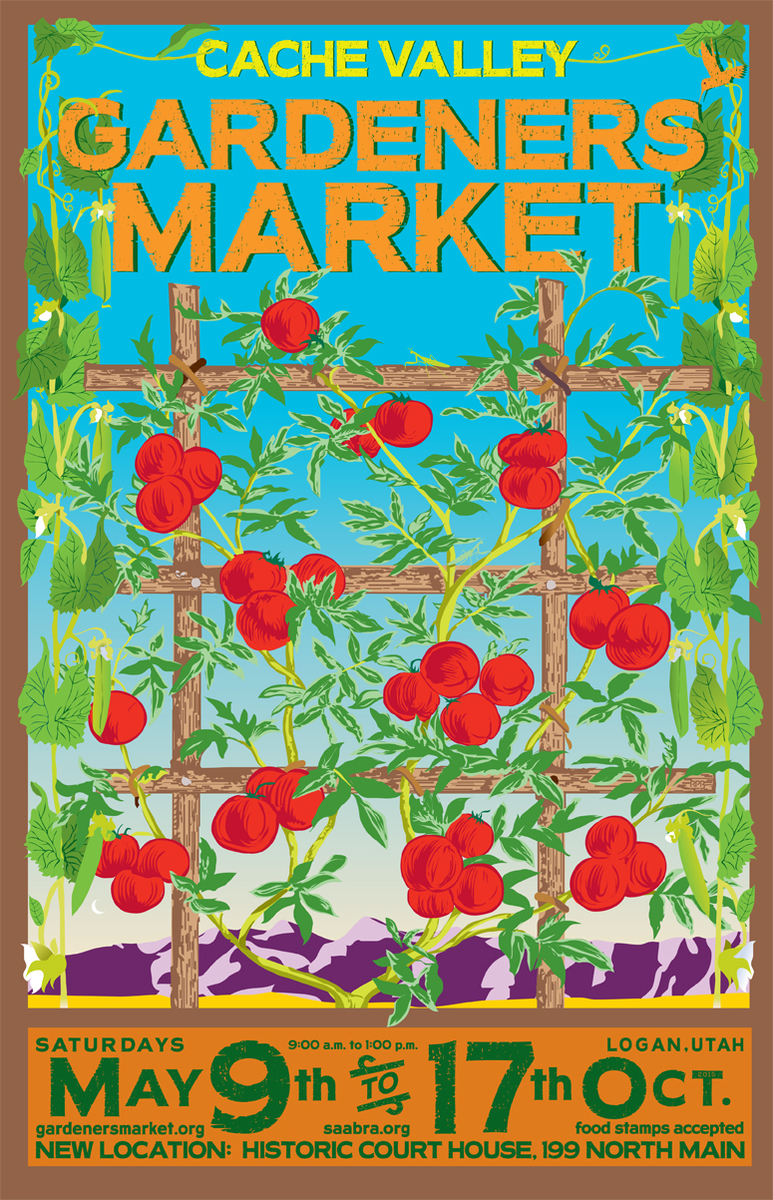2015 advertisement for the Cache Valley Gardeners' Market in Logan, Utah