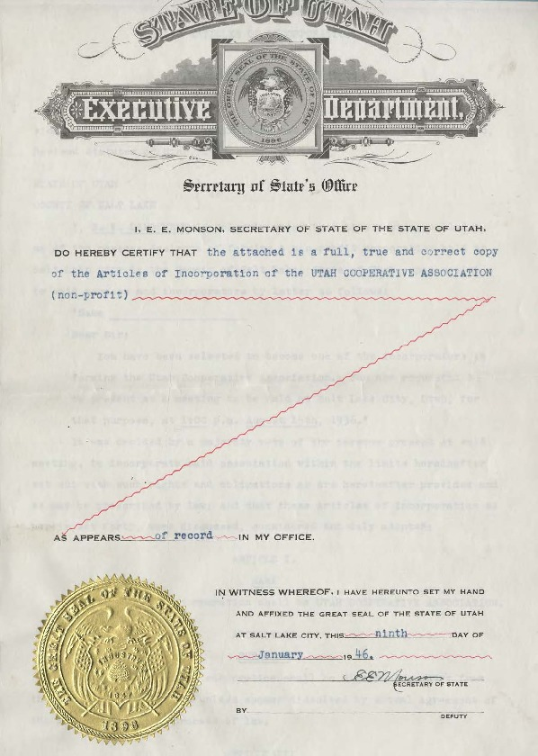 Articles of Incorporation of the Utah Cooperative Association
