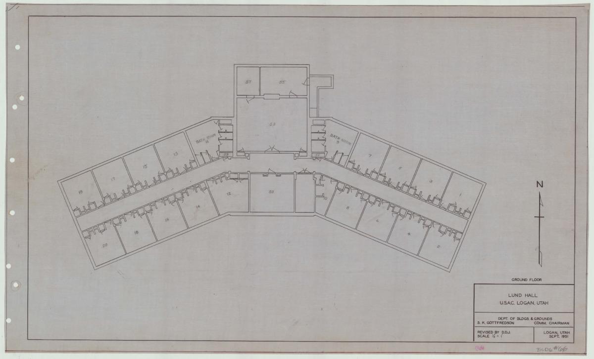 Lund Hall remodel blueprints, 1951
