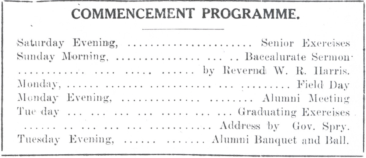 1909 UAC Commencement Program Newspaper Announcement