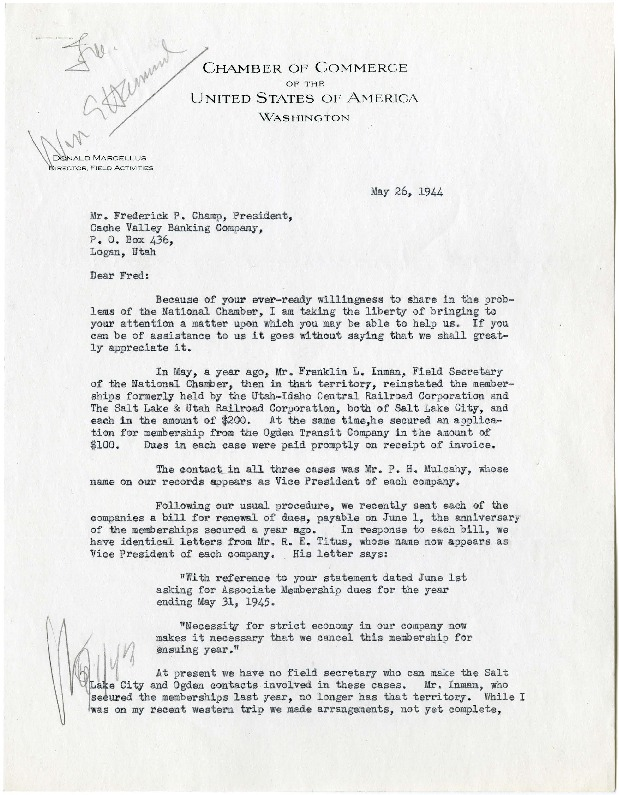 Marcellus to Champ, Renewing the U.I.C.'s Chamber Membership, 1944<br />