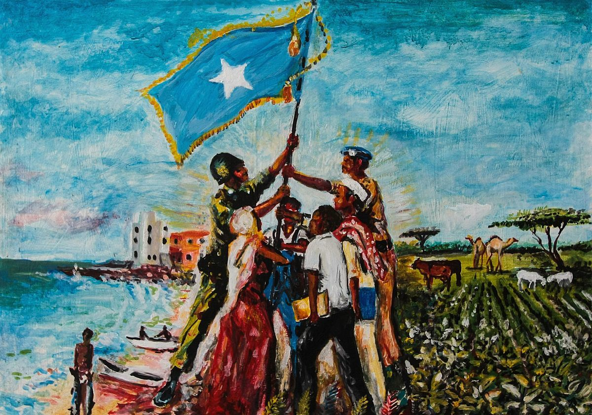 Painting showing Somalis around the Somali Flag<br />