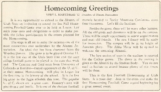 Invitation to alumni for the first USU homecoming, 1930