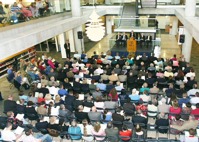 Audience at the Merrill-Cazier Library dedication ceremony