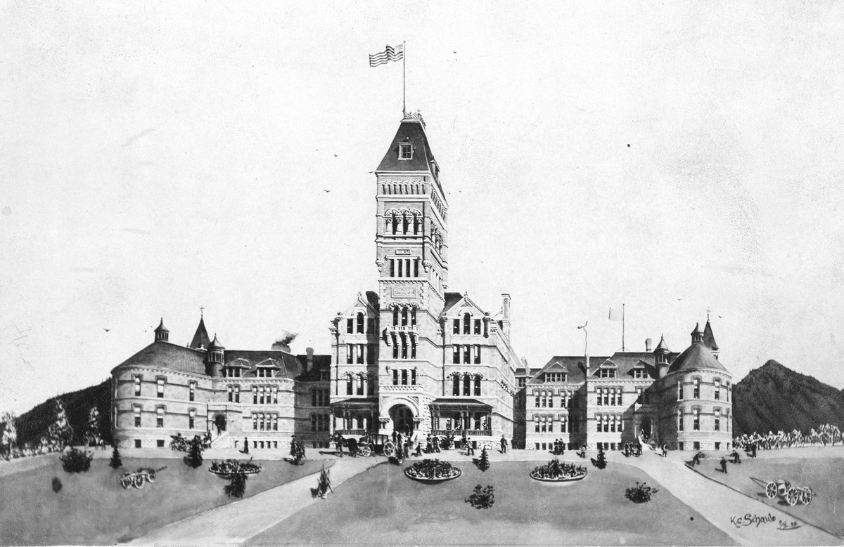 Drawing of Old Main Utah Agricultural College