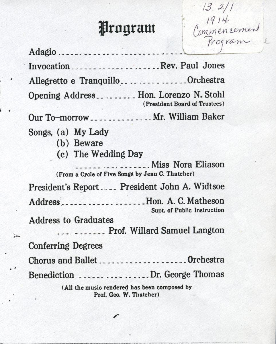 1914 UAC Commencement Program Page 1
