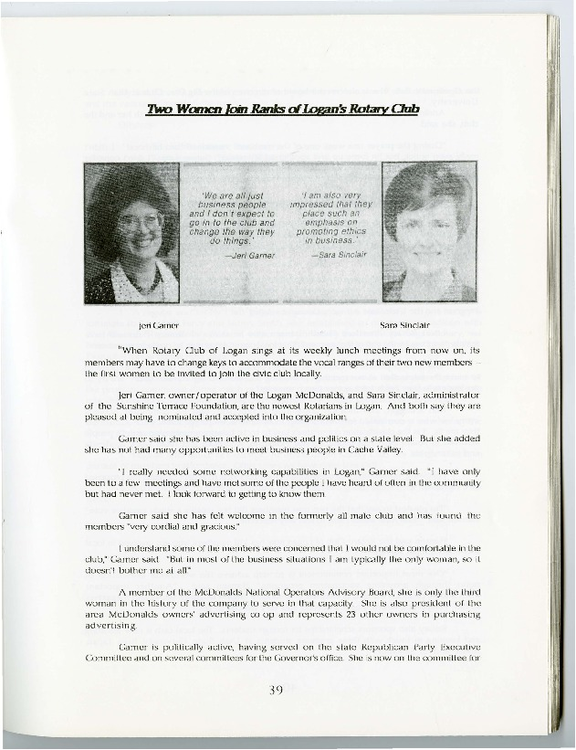 Excerpt from the 75th Anniversary History of Logan Rotary (Jeri and Sara), 1994