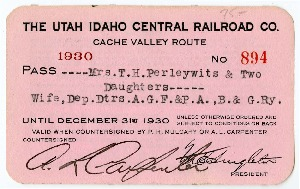 Annual U.I.C. Railroad Pass for Mrs. T.H. Perleywits & Daughters, 1930<br />