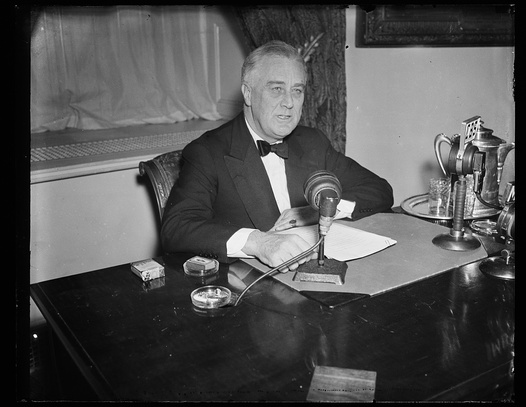 Franklin Delano Roosevelt (FDR) during a Radio Broadcast