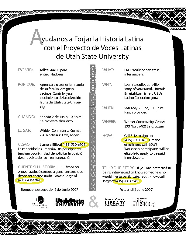 Latino Voice Project Oral History Training Workshop