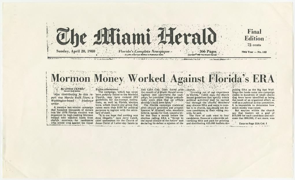 Mormon Money Worked Against Florida's ERA
