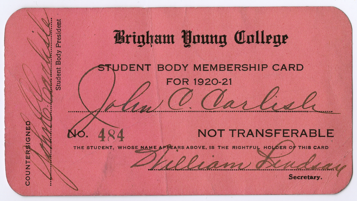 BYC student body membership card for 1920-21