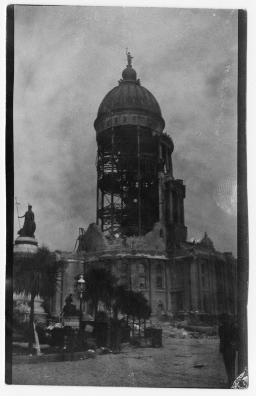 """Result of Earthquake. City Hall dome, which cost the city $32,000,000."""