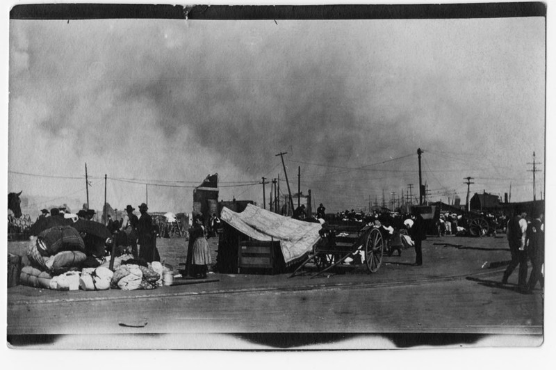 """Refugees camped in front of the Ferry Building."""