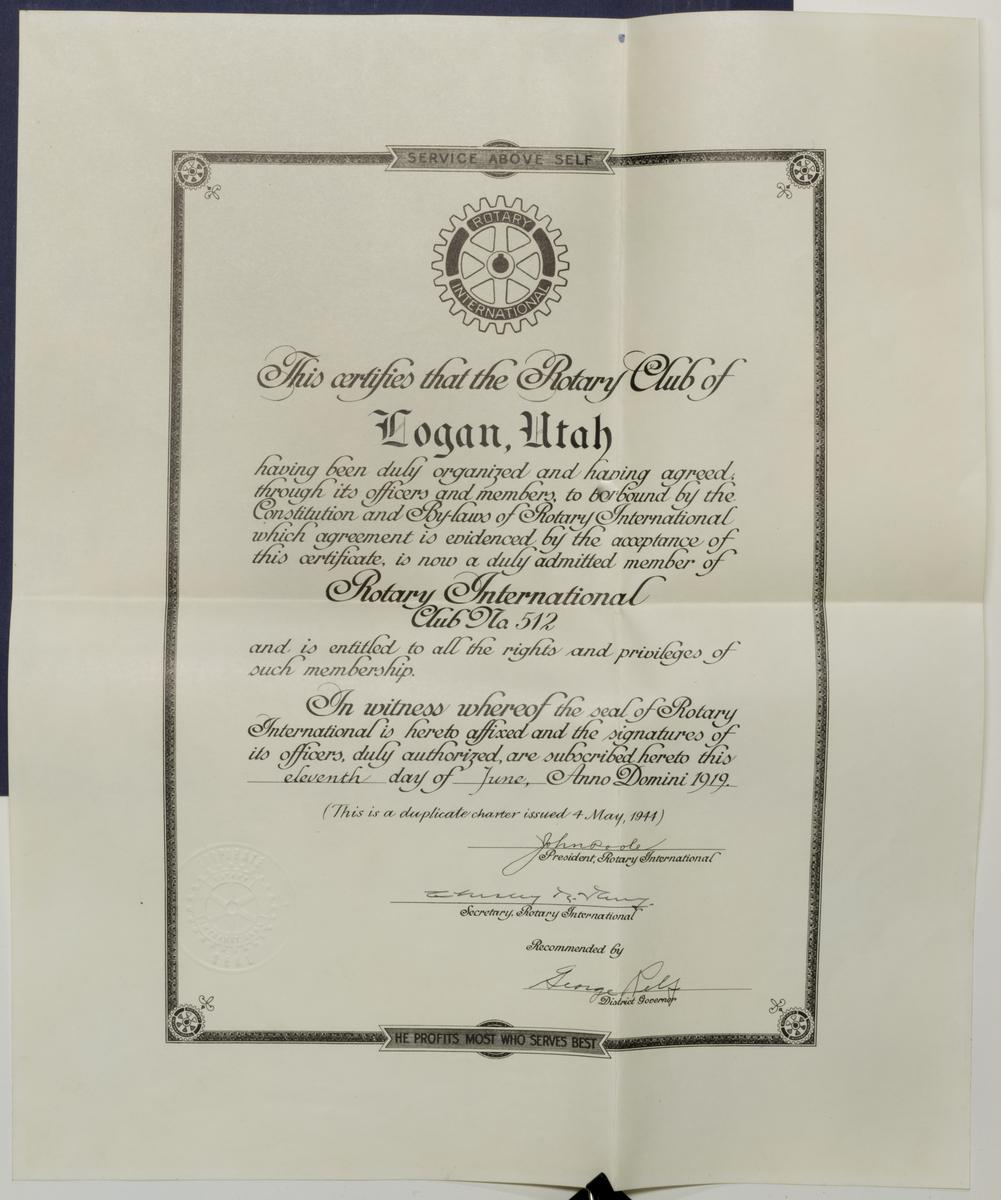 Logan Rotary Founding Charter Duplicate, 1944