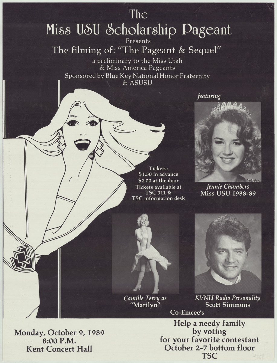Miss USU Scholarship Pageant poster, 1989