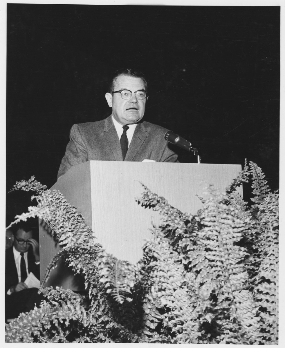 Milton R. Merrill speaking at Commencement