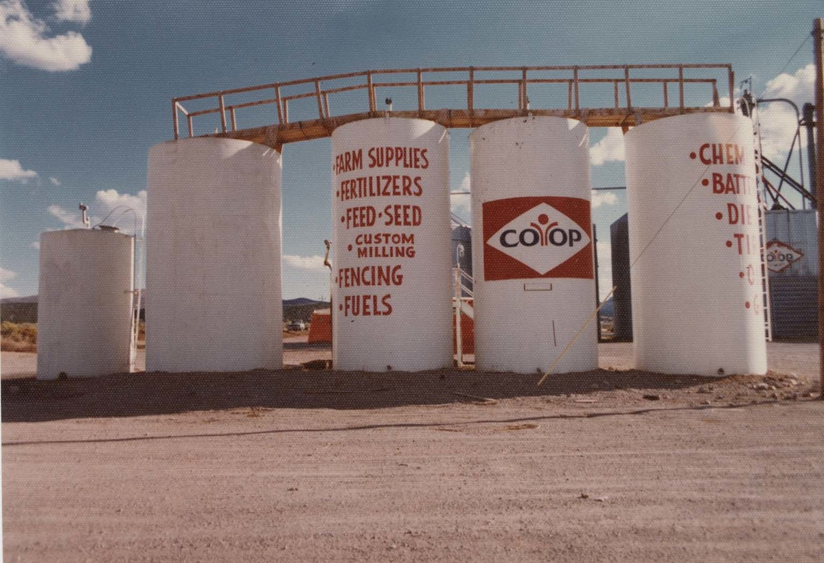 "Gasoline tanks of the ""Farmers Co-op of Southern Utah, Enterprise, Utah;"