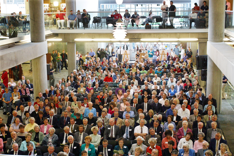 Audience at the Merrill-Cazier Library dedication ceremony<br />
