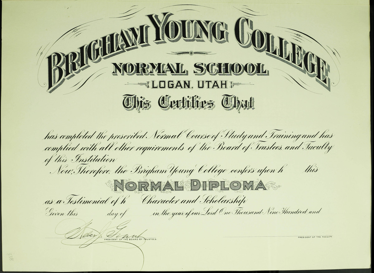Brigham Young College Normal School Diploma