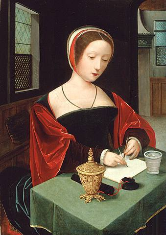 Saint Mary Magdalene at her writing desk