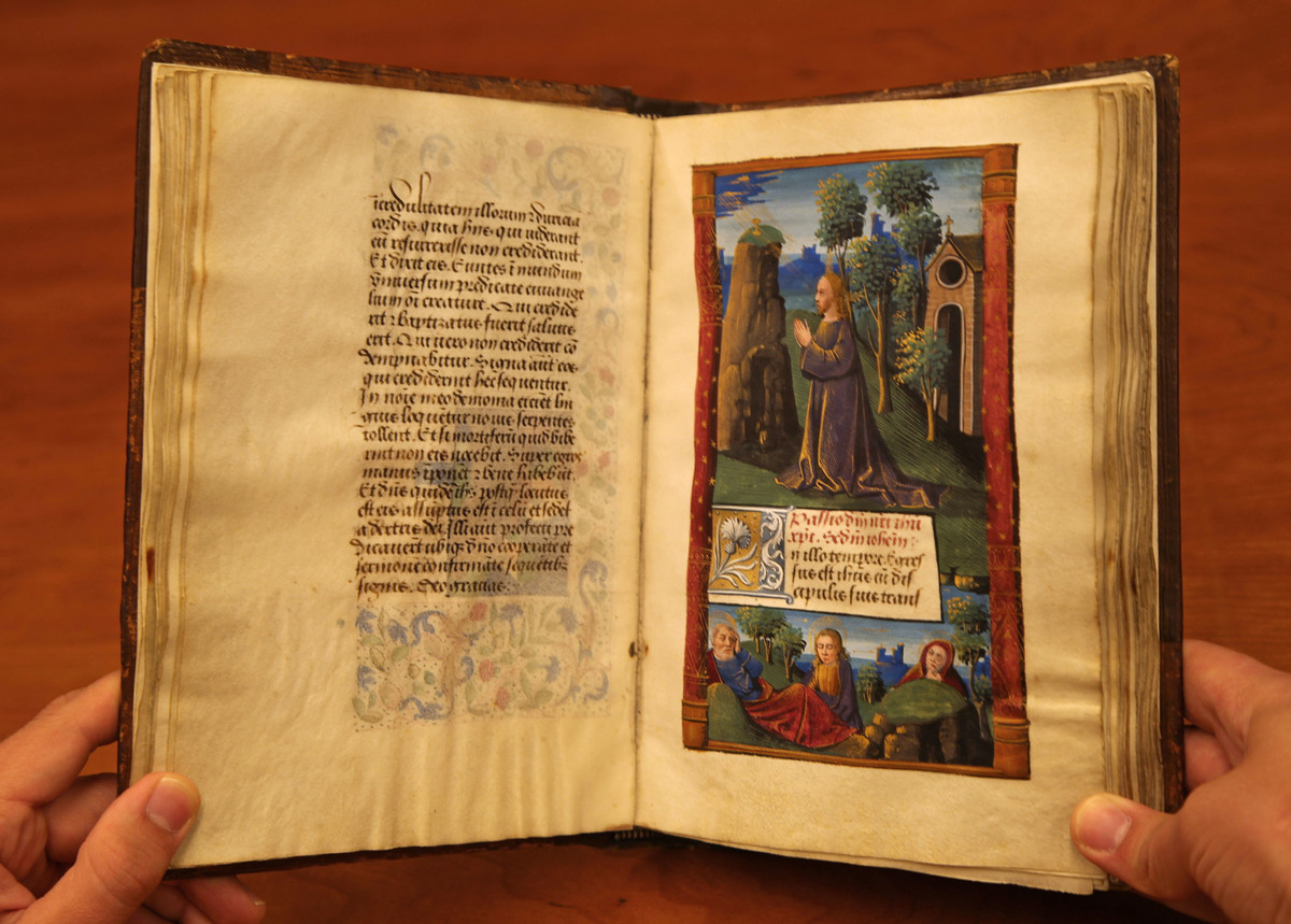 Full-page miniature illustrating Christ in the Garden of Gethsemane