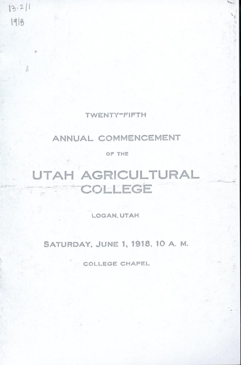 1918 UAC Commencement Program Cover