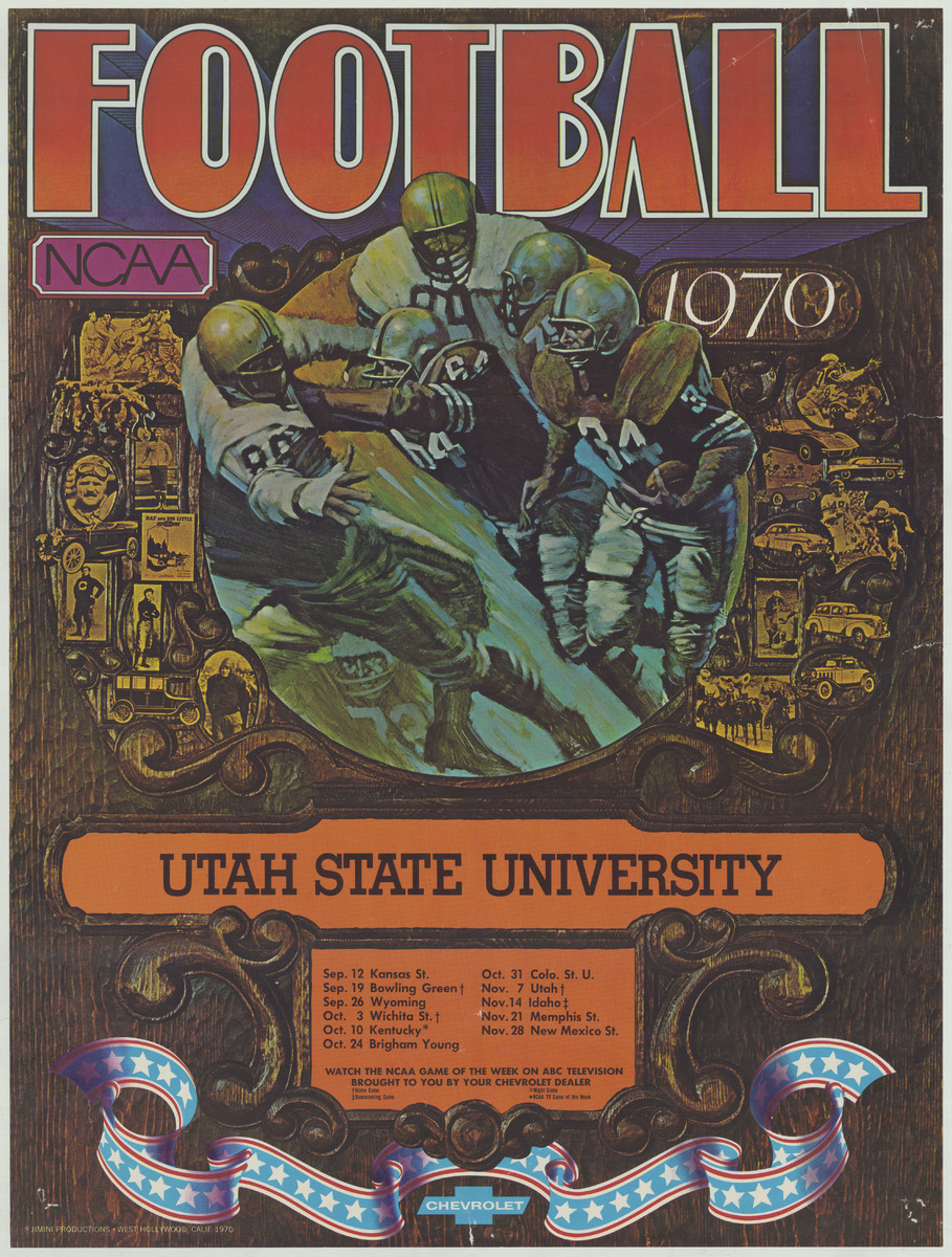 Football schedule poster, 1970