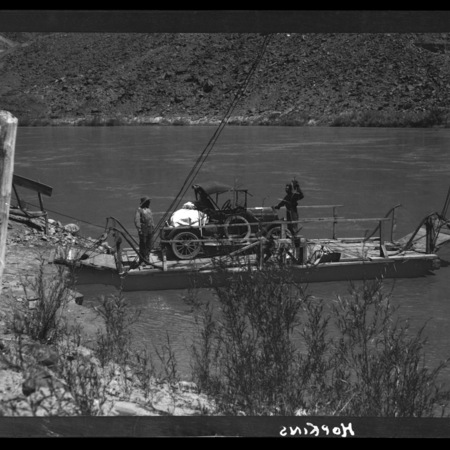 Two men on Lee's Ferry with Maxwell automobile