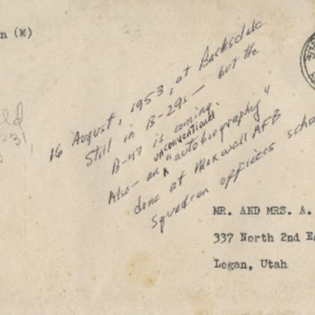 Personal letter from Robert Sorensen to Alma Sorensen, Augusst 16, 1953