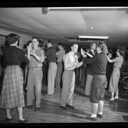 Utah State Agricultural College students dancing in the Temporary Union Building (TUB), c. 1947