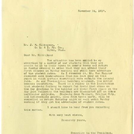 Nelson to Ellingson, Student Holiday and Weekend Rates, 1917<br />
