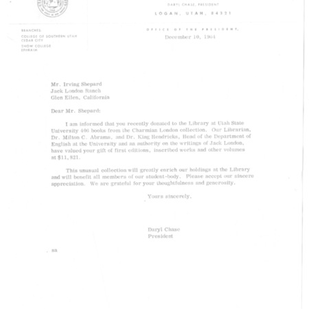 Letter from Daryl Chase to Irving Shepard, dated December 10, 1964