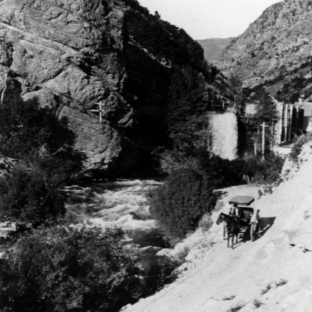 Horse and buggy near Hercules Power Plant at the mouth of Logan Canyon, Utah, 1905