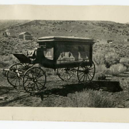 Horse-drawn hearse in Aurora, Nevada, 1920s