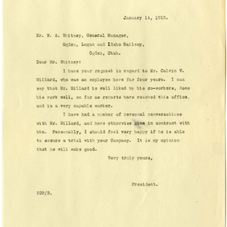 Peterson to Whitney, Job Recommendation for Calvin W. Millard, 1918<br />