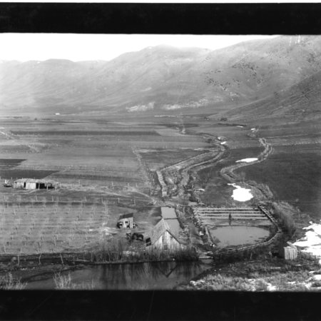 Maple Spring Trout Hatchery, Mantua, Utah, 1908, view from the hill South of the hatchery