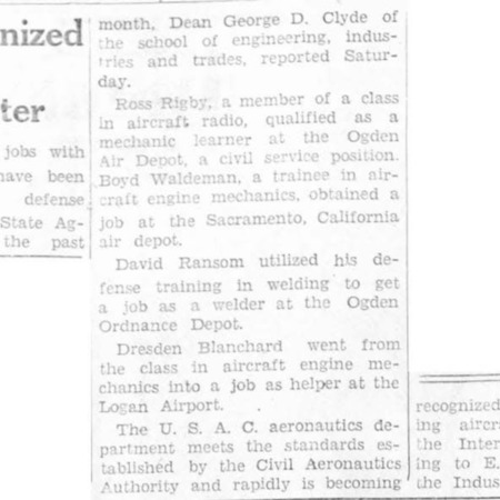 """USAC Recognized as Aircraft Training Center"" article in the North Cache News from February 6, 1942"