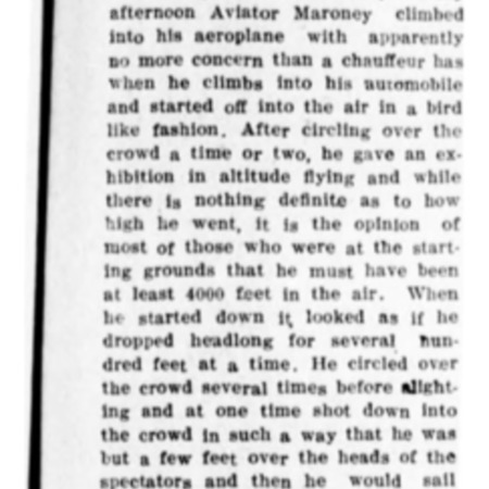 """Lieu. Maroney Gives Daredevil Flight"" article in the Logan Republican from June 1, 1916"