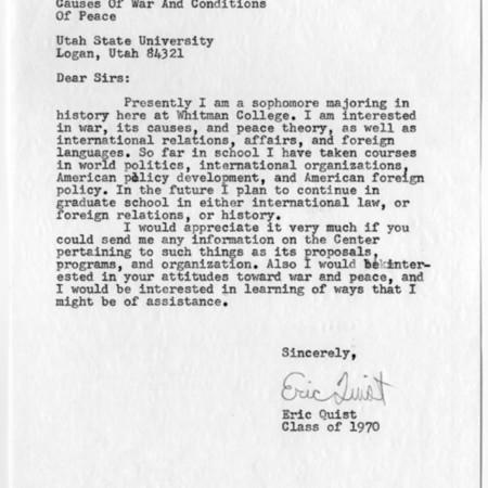 Letter - Eric Quist
